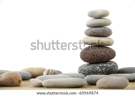 isolated Stacked stones - stock photo