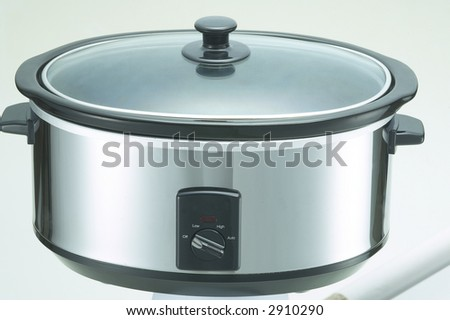 Isolated Stainless Steel Crock Cooker 3 - stock photo