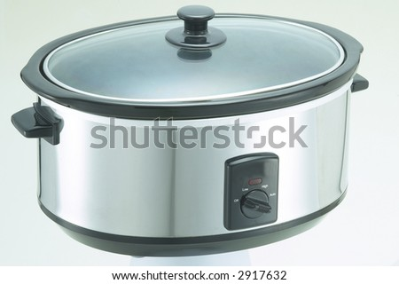 Isolated Stainless Steel Crock Cooker 2 - stock photo