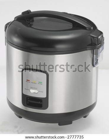 Isolated Stainless Steel Rice Cooker 2 - stock photo
