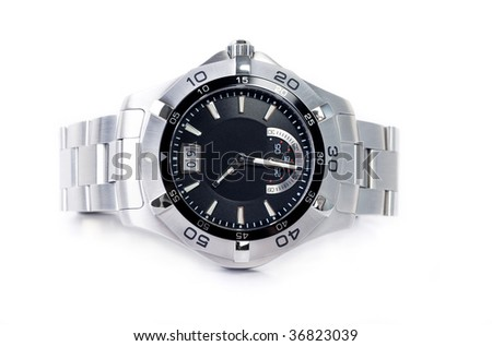 Isolated stainless steel Wristwatch on white background - stock photo