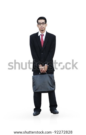 Isolated standing asian businessman on white background