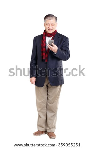 isolated standing old asian man with blue suit and red scarf - stock photo