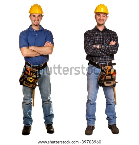 Isolated standing young worker on white background. Double version collection - stock photo