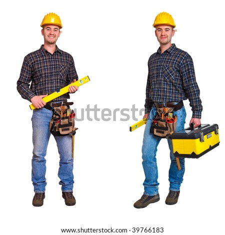 Isolated standing young worker on white background. Double version collection 02 - stock photo