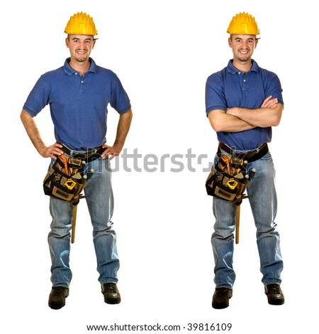 Isolated standing young worker on white background. Double version collection 03 - stock photo