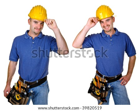 Isolated standing young worker on white background. Double version collection 05