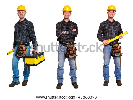 Isolated standing young worker on white background. Triple collection