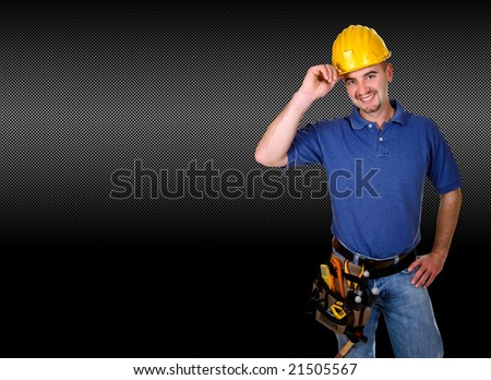 isolated standing young worker with space for text