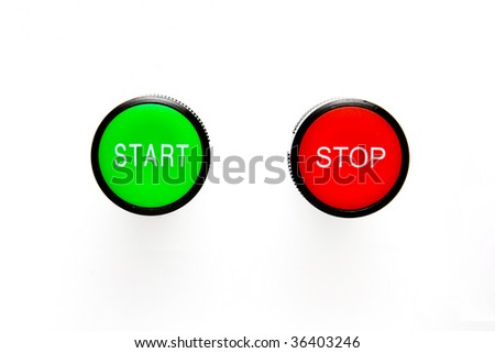 Isolated start and stop buttons - stock photo