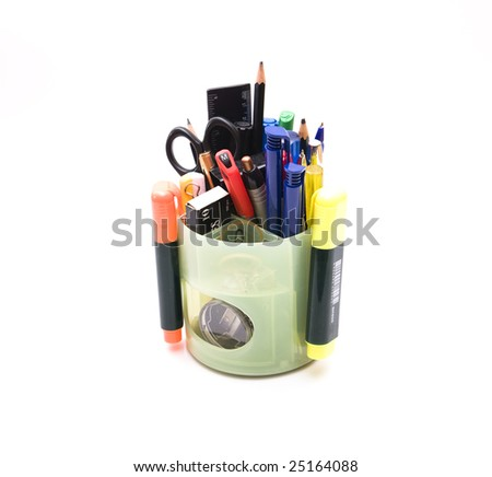Isolated stationery , pen, color marker, scissors on white background - stock photo