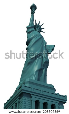 Isolated Statue of Liberty 3D Illustration. - stock photo