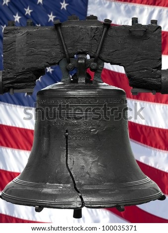 Isolated statue of the authentic Liberty Bell, Philadelphia, PA. The United States flag was digitally added to the background. - stock photo