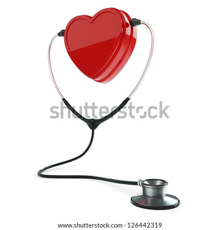 Isolated stethoscope and heart on white background - stock photo