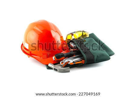 isolated still life with constructor tools - stock photo