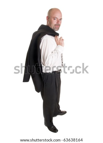Isolated stock photo of a caucasian businessman looking at the camera and smiling while holding his coat over his shoulder. - stock photo