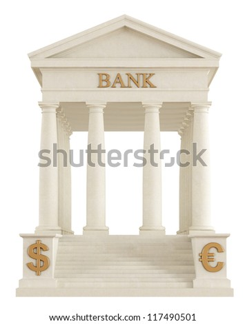 Isolated stone bank building with tuscany  columns - rendering