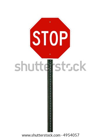 isolated stop sign with clipping path - stock photo