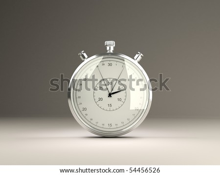 Isolated stopwatch. Grey background series - stock photo