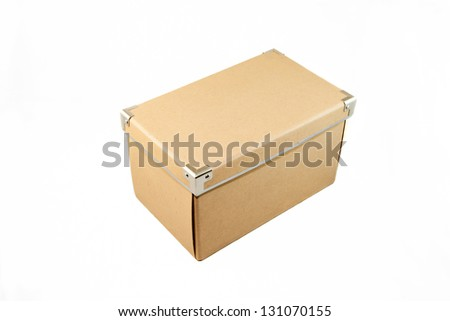 Isolated storage cardboard box in white background