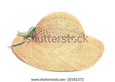 Isolated straw hat - stock photo