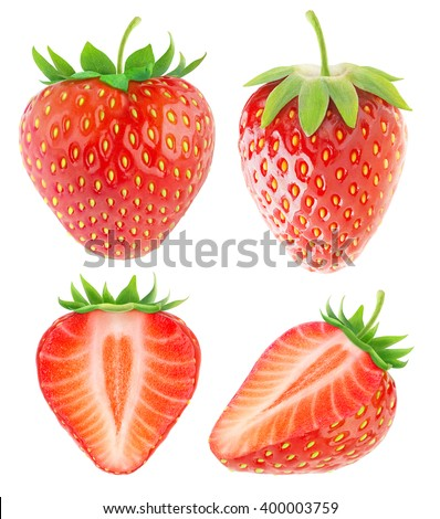Isolated strawberries. Collection of whole and cut strawberry fruits isolated on white background with clipping path - stock photo