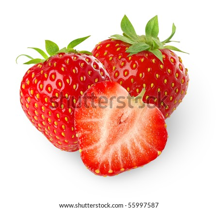 Isolated strawberries. Three fruits, one cut in half on white background