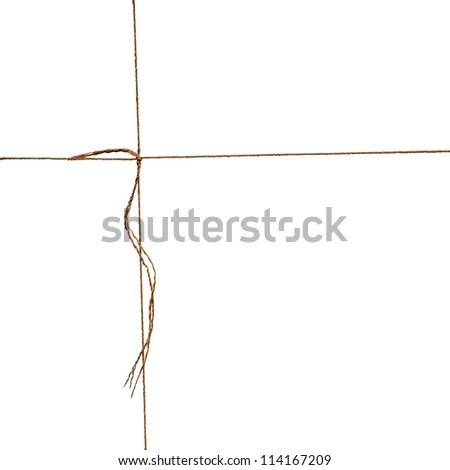 Isolated string with knot on white background - stock photo