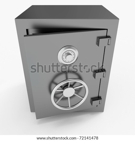 Isolated strong open safe - stock photo