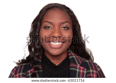 Isolated studio head shot of a smiling African American businesswoman - stock photo