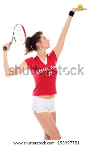 isolated studio picture from a young woman with tennis racket - stock photo