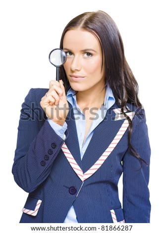 Isolated Studio Portrait Of A Young And Pretty Business Girl Or Lady Holding A Magnifying Glass Up To Eye In A Business Analysis Review And Strategy Examination - stock photo