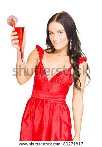 Isolated Studio Portrait Of A Young Attractive Lady In Elegant Red Dress Holding Strawberry Cocktail In A Nightclub And Party Concept, White Background - stock photo