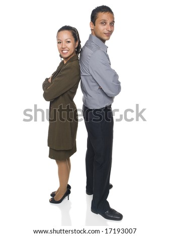 Isolated studio shot of a businessman and businesswoman standing back to back. - stock photo