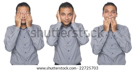 Isolated studio shot of a businessman in the See No Evil, Hear No Evil, Speak No Evil pose. - stock photo