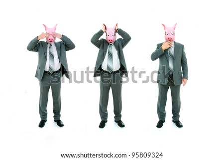 Isolated studio shot of a businessmen with pig mask doing see no evil, hear no evil, speak no evil poses. - stock photo