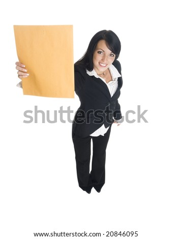 Isolated studio shot of a businesswoman happily holding up a letter. - stock photo