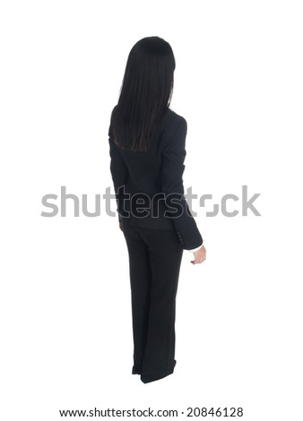 Isolated studio shot of a businesswoman looking away.