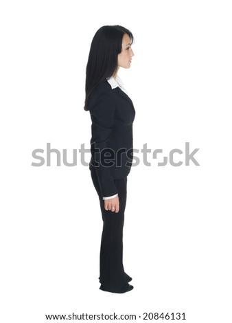 Isolated studio shot of a businesswoman looking to the side