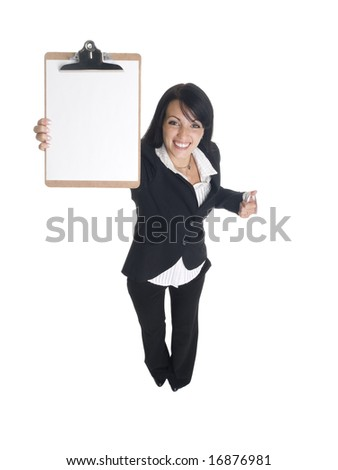 Isolated studio shot of a businesswoman presenting a blank clipboard.