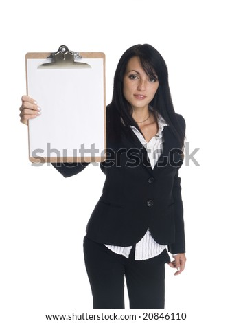Isolated studio shot of a businesswoman presenting a blank clipboard. - stock photo