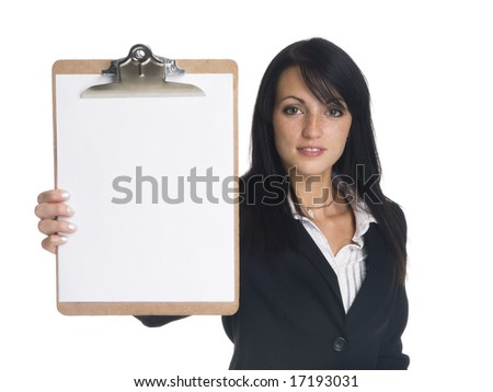 Isolated studio shot of a businesswoman presenting a blank clipboard ready for your copy. - stock photo