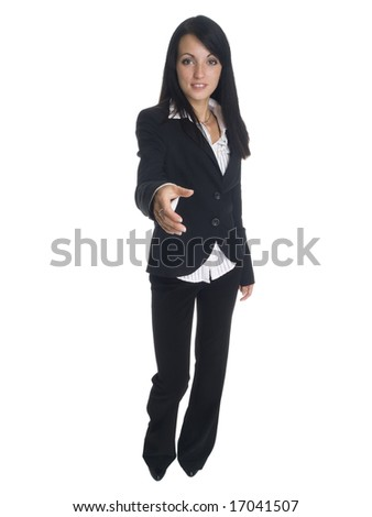 Isolated studio shot of a businesswoman reaching out to shake hands. - stock photo
