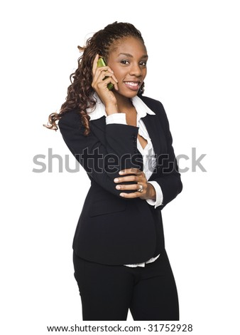 Isolated studio shot of a businesswoman talking on her cellphone. - stock photo