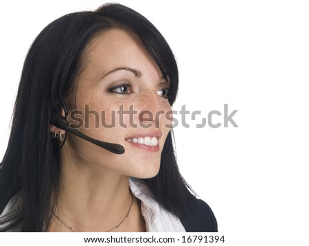 Isolated studio shot of a businesswoman using a telephone headset. - stock photo