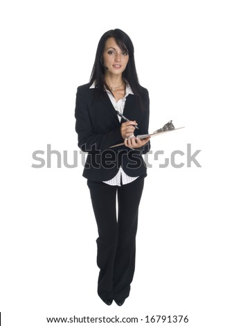 Isolated studio shot of a businesswoman wearing a headset telephone and writing on a clipboard.