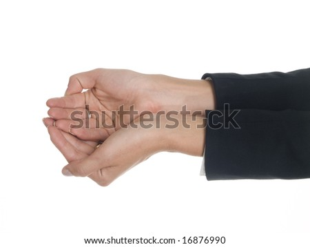 Isolated studio shot of a businesswoman with her hands cupped. - stock photo