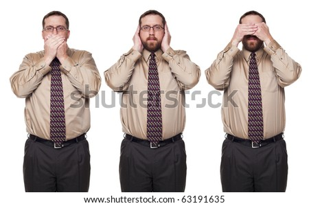Isolated studio shot of a Caucasian businessman in the See No Evil, Hear No Evil, Speak No Evil poses. - stock photo