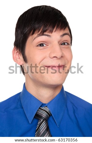 Isolated studio shot of a Caucasian businessman making a happy expression.