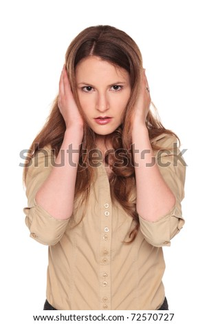 Isolated studio shot of a Caucasian businesswoman in the Hear No Evil pose. - stock photo